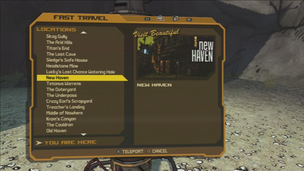 fast travel menu from the original Borderlands