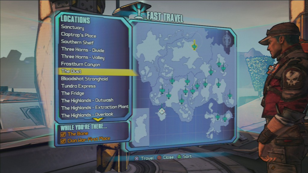 Borderlands 2 Fast Travel with missions displayed