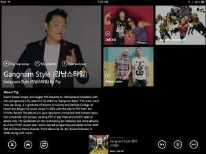 Second screen example using XBox Music