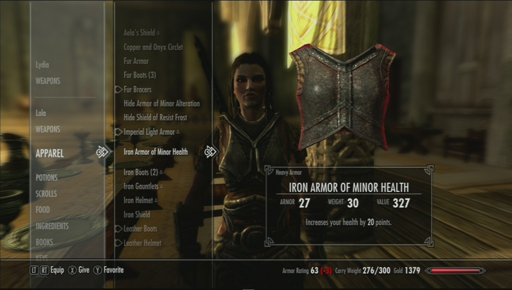 Skyrim's menu for trading with your follower