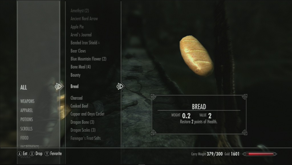 My Skyrim inventory is full, and I can't sort by size.