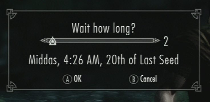 Skyrim's wait screen doesn't have units indicating how long you'll wait
