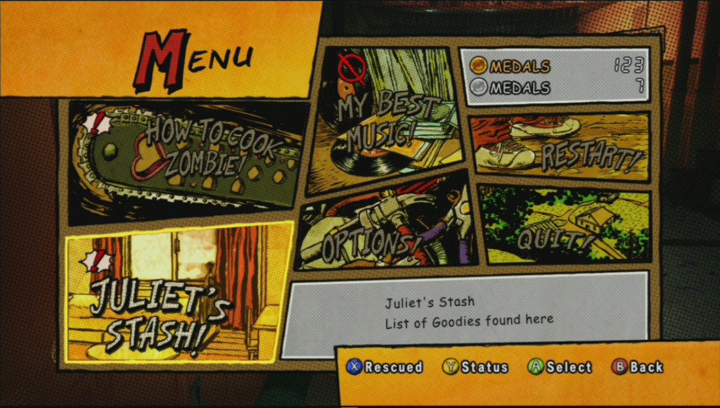 The pause menu in lollipop chainsaw