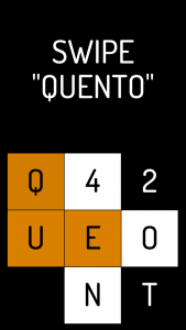 "Title screen of Quento with the ""swipe Quento"" text displayed"