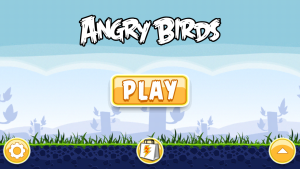 Title screen of Angry Birds on iOS