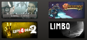 An example of the game selector from Steam, with the actions overlayed on top of the game images