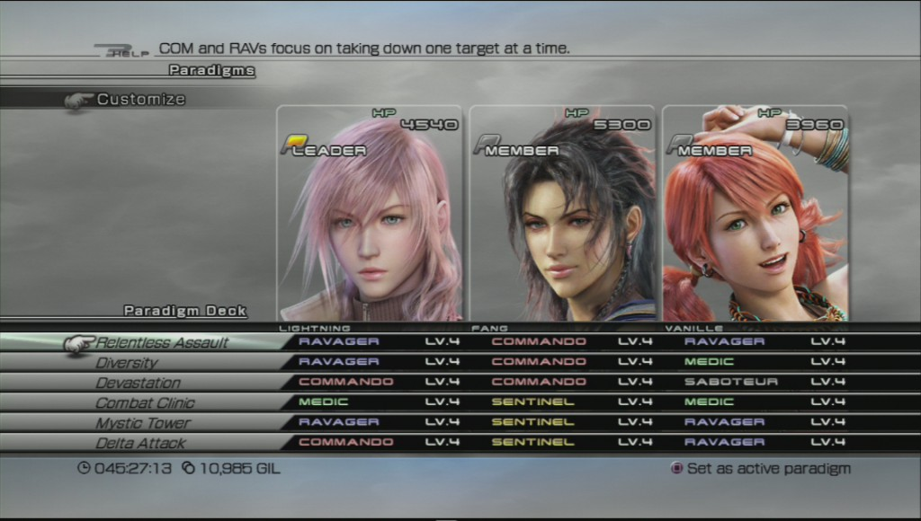 Showing a full Paradigm Deck in Final Fantasy XIII