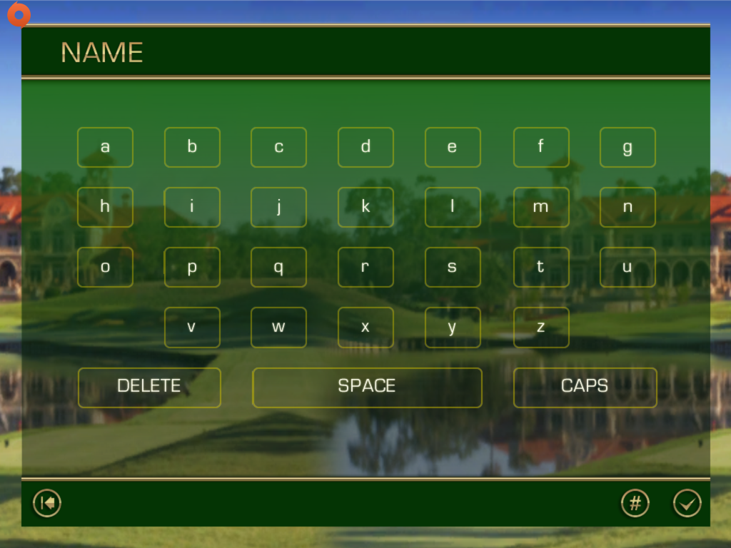 Name entry screen in Tiger Woods PGA Tour 12 for iOS