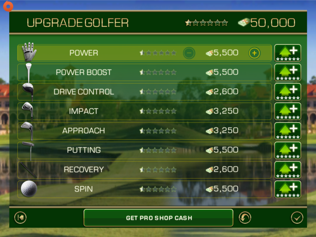 Skills screen in Tiger Woods PGA Tour 12 for iOS